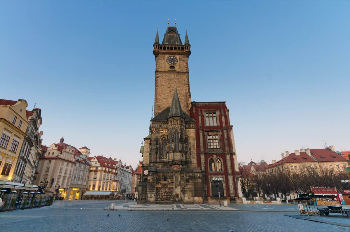 The Old Town Square at dusk , Prague, Czech Republic